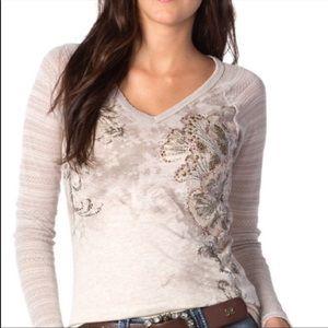 Miss Me Long Sleeve Raglan Embellished V-Neck